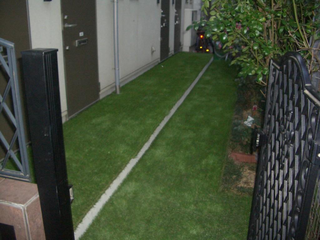 人工芝敷設後